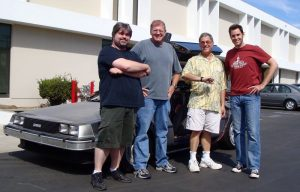 The original builders of the car Sean Bishop and J Ryan with Robert Zemeckis and Bob Gale